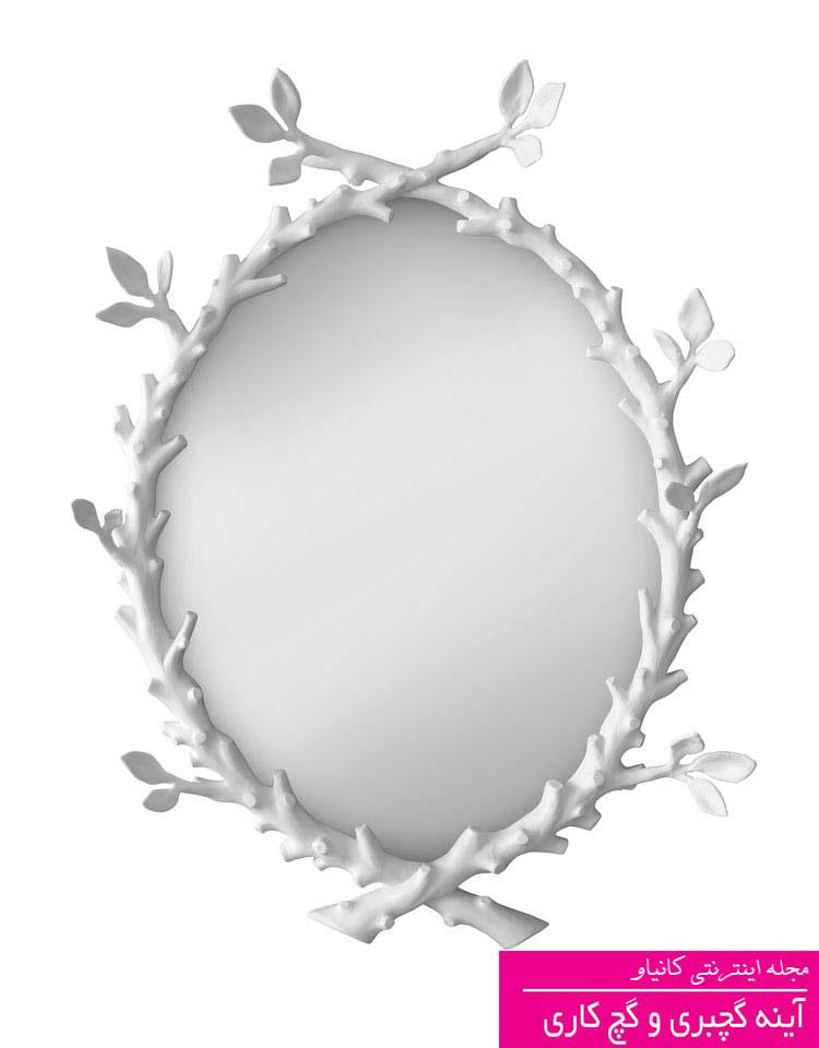 قاب آینه مدرن گچبری شاخه درخت