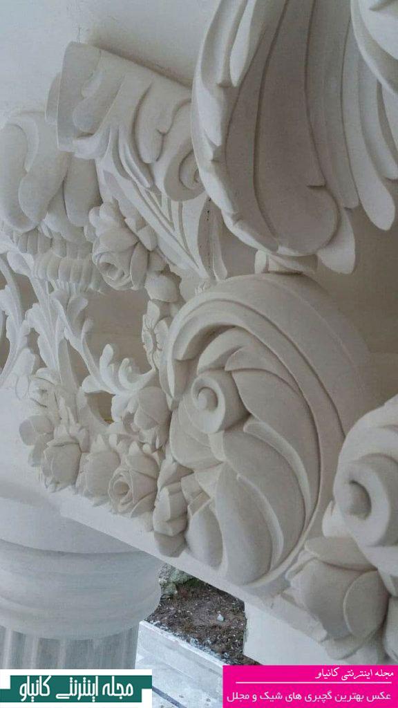 گچبری و کاغذ دیواری - گچبری سقف جدید و مدرن - هنر گچبری - گچبری ستون وسط پذیرایی - انواع گچبری