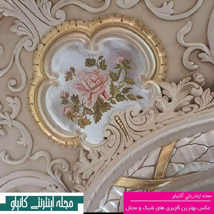 طرح سقف گچبری - نقاشی گچبری ساختمان - گچبری کلاسیک سقف - طرح های گچبری - گچبری کلاسیک