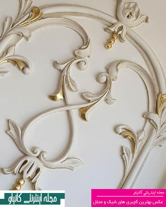 گچبری ستون عکس - گچبری ورودی اتاق خواب - نقاشی گچبری سقف - سقف گچبری - مدل گچبری سقف شیک