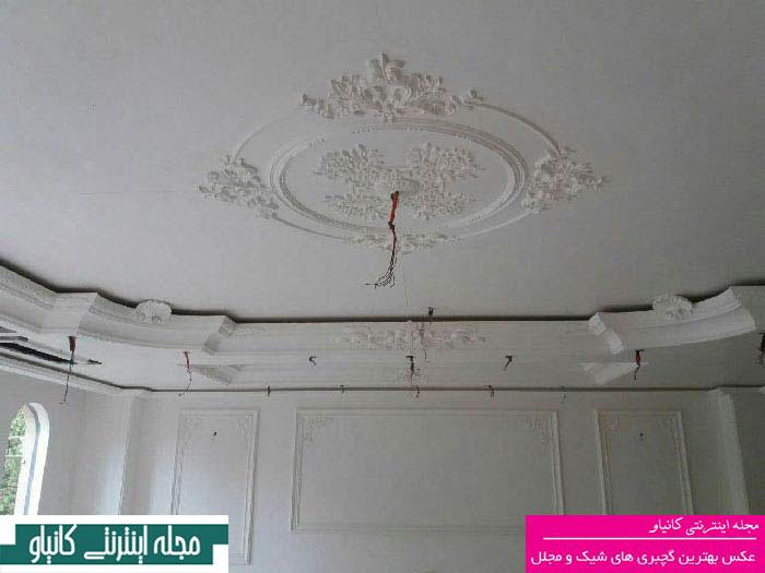 طرح های جدید گچبری سقف - گچبری دیوار اتاق خواب - گچبری آینه - گچبری ستون پذیرایی - گچ بری ساده سقف