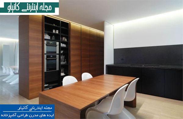 آشپزخانه ای کوچک و بسیار شیک با لوازم داخلی و طراحی جمع و جور