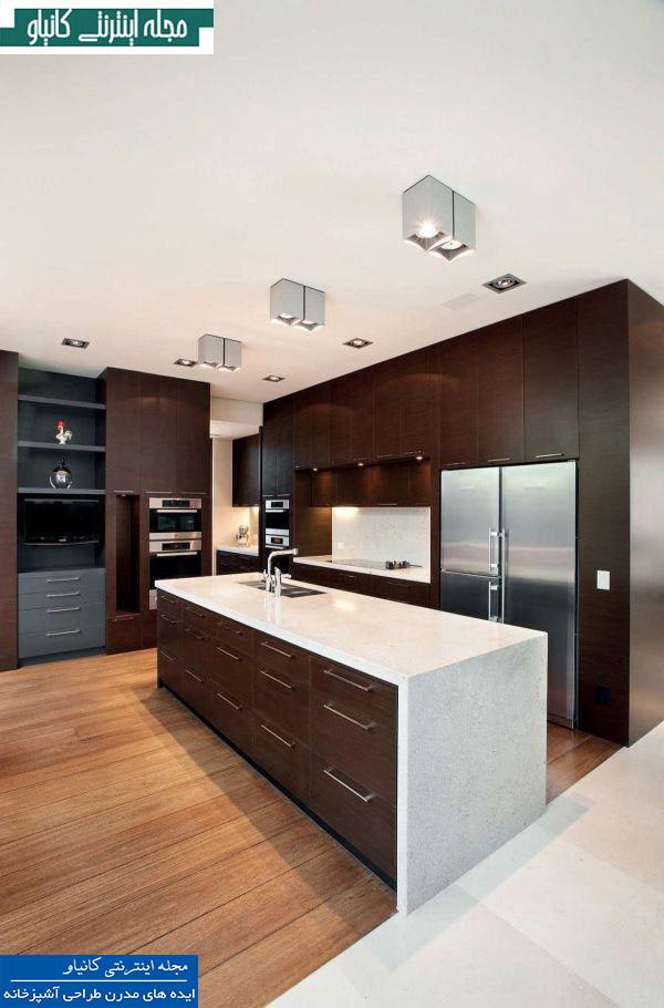 آشپزخانه ای زیبا با دکوراسیون مدرن بر اساس سایه های سفید و قهوه ای