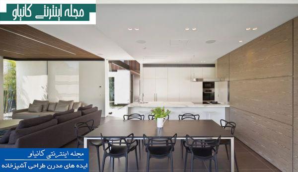 آشپزخانه اوپن مدرن با دکوراسیون سفید و مینیمالیستی