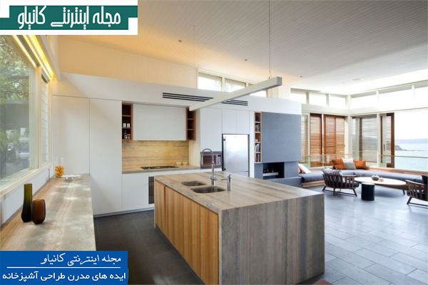 آشپزخانه اوپن اوپن با لایه های چوبی و لوازم داخلی