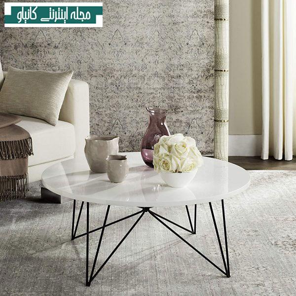 میز جلو مبلی گرد با پایه های سنجاق سر