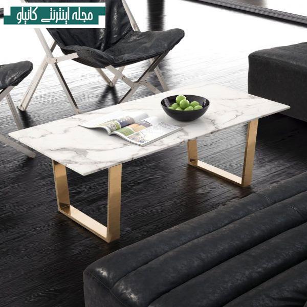 میز قهوه سنگ سفید با پایه طلایی رنگ