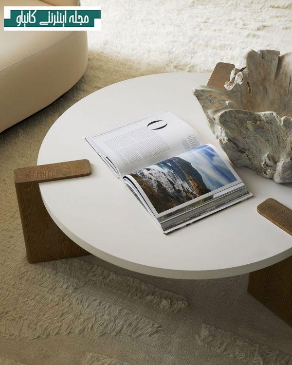 میز قهوه سفید با پایه بلوط