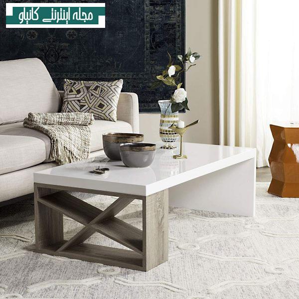 میز قهوه براق سفید و بلوط