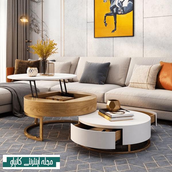 میز قهوه چوبی و سفید با فضای ذخیره سازی