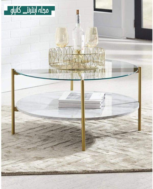 میز جلو مبلی سفید با صفحه شیشه ای