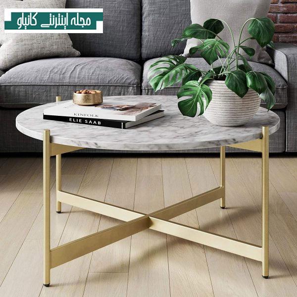میز جلو مبلی سنگ مرمر سفید مصنوعی